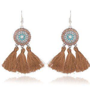 3/$20 New Tan Boho Tassel Dangle Earrings